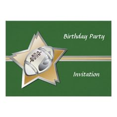 Silver and gold football star linen birthday party personalized announcement
