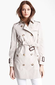 Burberry 'Marystow' Double Breasted Poplin Short Trench Coat on shopstyle.com