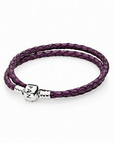 PANDORA Bracelet - Purple Leather Double Wrap with Sterling Silver Clasp, Moments Collection - $50.00