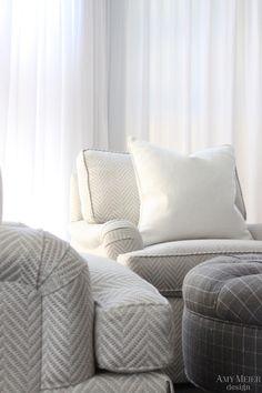 amy meier design:  oversized silver and cream herringbone english arm chairs