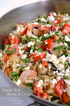 Greek Style Shrimp and Orzo - a light and easy one-dish dinner that's ready in 30 min. or less - dinner, done! http://anoregoncottage.com/greek-style-shrimp-and-orzo/