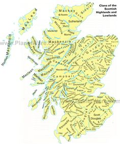 Scottish clan | Map of Clans of the Scottish Highlands and Lowlands | PlanetWare - Look for the Murray Clan