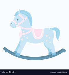Rocking horse vector image on VectorStock Baby Stork, Baby Shawer, Baby Box, Baby Shower Cakes For Boys, Unique Baby Shower, Baby Boy Shower, Horse Party Decorations, Baby Rocking Horse, Image Deco