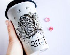 Ceramic Travel Mug EcoFriendly Painted  Lotus Mug by CraftUnikat, $52.00