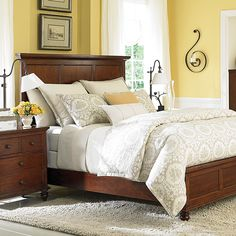 Traditional-Cherry-Wood-Queen-Panel-Bed