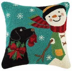 "Designer Suzanne Nicoll Winter Play Snowman Black Labrador Retriever Dog - 16"" Wool Hooked Pillow"