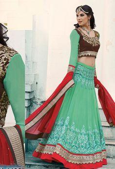 #Green Georgette #Circular #Lehenga #nikvik  #usa #designer #australia #canada #freeshipping #dress #wedding