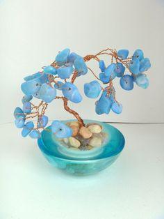 Wire Wrapped Blue Beaded Bonsai Tree Decoration #Handmade