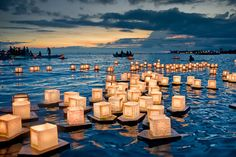 floating candles on the water