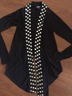 Express Black Embellished Long Sleeve Black Cardigan Size Xxs  | eBay