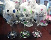 Personalized wine glasses/ bridal shower, wedding, birthdays, girls night out , wedding party