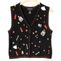 Trick Or Treat Candy Explosion Halloween Tacky Ugly Sweater Vest - The Ugly Sweater Shop Sweater Shop, Ugly Sweater, Sweaters, Trick Or Treat, Vest, Candy, Halloween, Tank Tops, My Style