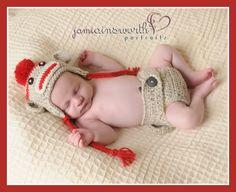 3-6m SET Sock Monkey  Hat  and Diaper Cover Baby Crochet Unique Photo Prop