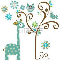 buhos en ramas: búho y la jirafa Vectores