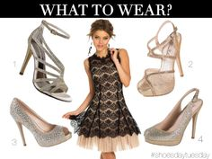 Camille La Vie Black and Nude Lace Short Dress with stilettos sandals and platforms to match