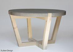 Design salontafel van beton en hout, gemaakt door Kuiken Design