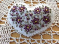 Pretty Hand Embroidered Heart Hair Slide by sweetheartsandroses