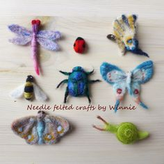 Needle felted insects and butterflies
