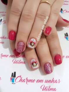 Cute Nail Art, Cute Nails, My Nails, Roses, Perfect Nails, Pretty Nails, Accent Nails, Best Tattoos For Women, Red Toenails