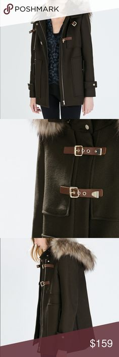 ZARA DARK TOBACCO LEATHER CLOSURE COAT Gorgeous dark tobacco colour Wool blend coat with fabulous faux leather and goldtone hardware.. detachable faux fur hood. Zipper front.. Fully lined. Brand new without tags. Zara Jackets & Coats