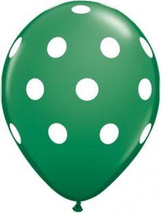 green polka dot balloons