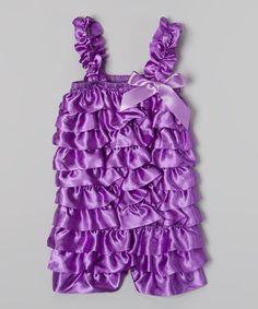 Purple Satin Ruffle Romper - Infant & Toddler #zulily #zulilyfinds