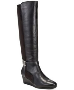 Giani Bernini Cathrin Tall Wide-Calf Wedge Boots, Created for Macy's - Black 7.5M