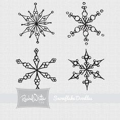 25 Snowflake Doodles Digital Stamp Set by rachelwhitetoo on Etsy, $4.75
