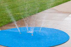 7 1/2' portable splash pad with Polysoft safety surface. Just attach garden hose, 10 year warranty. 20' spray area