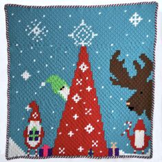 Gnomes are becoming one of the biggest trends for Christmas (again), so get started early with this fun Gnome for Christmas Blanket crochet pattern! Christmas Crochet Blanket, Christmas Afghan, Crochet Santa, Christmas Crochet Patterns, C2c Crochet, All Free Crochet, Crochet Towel, Holiday Crochet, Crochet Stitches