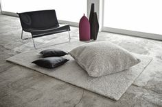 Withe | wool and linen cushion and #rug by Silvia Di Piazza
