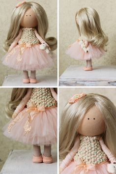 Tilda poupée fait main couleur pêche blonde par AnnKirillartPlace