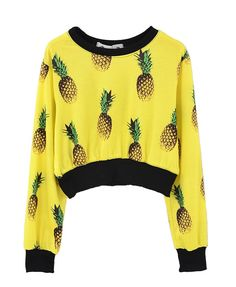 All-over Pineapple Print Crop Sweatshirt - Sweatshirts & Hoodies - Clothing