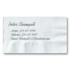 Unique White Napkin Background Personal Info Business Card. It's two-sided with no additional charge, and totally customizable!