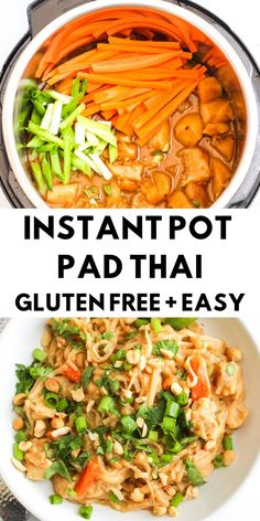 Instant Pot Pad Thai The easiest and most delicious Instant Pot Pad Thai, made in less than 30 minutes! - Instant Pot Pad Thai - Gluten Free - The Bettered Blondie Instant Pot Pressure Cooker, Pressure Cooker Recipes, Pressure Cooking, Slow Cooker, Instant Pot Dinner Recipes, Gluten Free Recipes Instant Pot, Recipes Dinner, Vegetarian Recipes Instant Pot, Instapot Vegetarian Recipes