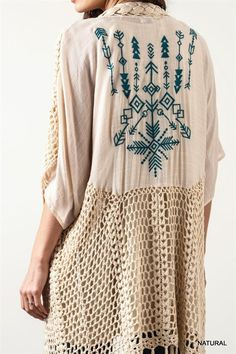 """""""Say what you think, love who you love. Because you get only so many trips around the sun."""" A natural crochet cardigan/duster with fringe and embroidered details. Hand Wash Cold Wash 65% Cotton 35% Polyester Imported 3/4 sleeves"""