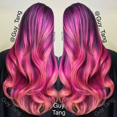 """""""I am digging this paradise flavor. Tropical cocktail using @kenraprofessional #colorcreatives  violet mix blue white, pink white, yellow pink. @oaf_a"""""""