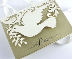 """Laser cut holiday card - """"Peaceful Dove"""""""