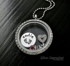 New Mom Necklace / Floating Locket / Baby Feet / Personalized Hand Stamped Jewelry by Silver Impressions