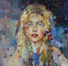 Blue Portrait Art of Julia Klimova  |  New Paintings