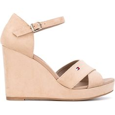Tommy Hilfiger wedge buckled sandals ($89) ❤ liked on Polyvore featuring shoes, sandals, nude, wedge heel shoes, leather buckle sandals, leather shoes, tommy hilfiger and genuine leather shoes