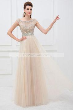 2014 Elegant Scoop Neckline Cap Sleeve Prom Dress Beaded Bodice With Long Tulle Skirt