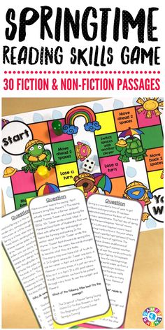 """This springtime game covers SO many skills - plus fiction and nonfiction reading!"" This Spring Reading Comprehension Board Game contains 30 game cards and a game board to help students practice a variety of fiction and nonfiction reading skills. Each game card includes a springtime-themed paragraph and a multiple choice question to assess students' understanding."