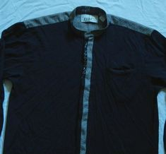Banded Collar Gray Black Long Sleeve Button Up Shirt XL Mens | Etsy