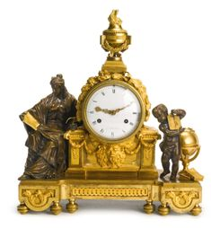 A Louis XVI ormolu and patinated bronze mantel clock circa 1770, the dial signed Gol. Le Roi a Paris