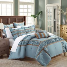 Firenze 11 Piece Comforter Set by Chic Home Blue - CS1372-BIB-HE