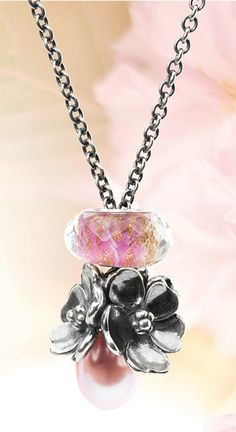 Mother's Day Pink Pearl Fantasy Necklace with faceted Pink Delight glass bead and silver Apple Blossom bead.