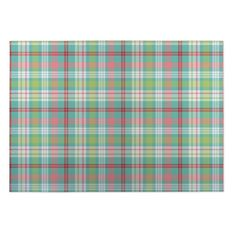 Kavka Designs Plaid Green/ Blue/ Red Indoor/ Outdoor Floor Mat (5' x 7') (Green - Novelty - Plaid), Size 5' x 7'