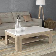BIANKO Table basse style contemporain blanc mat et brillant et décor chêne - L 120 x l 75 cm - Achat / Vente table basse BIANKO Table basse BLCH - Cdiscount