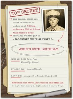 Covert Birthday - Adult Birthday Party Invitations